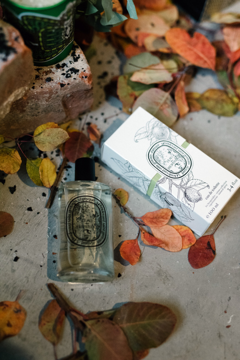 Diptyque perfume and autumn leaves