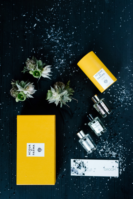 Acqua Di Parma fragrance for men on the table with flowers