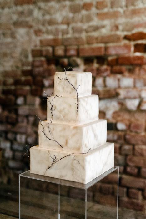 Rectangular White Wedding cake in Thessaloniki