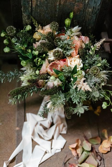 Wedding bouquet with silk ribbon in Thessaloniki