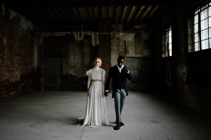 the moody couple in the abandoned factory in Thessaloniki