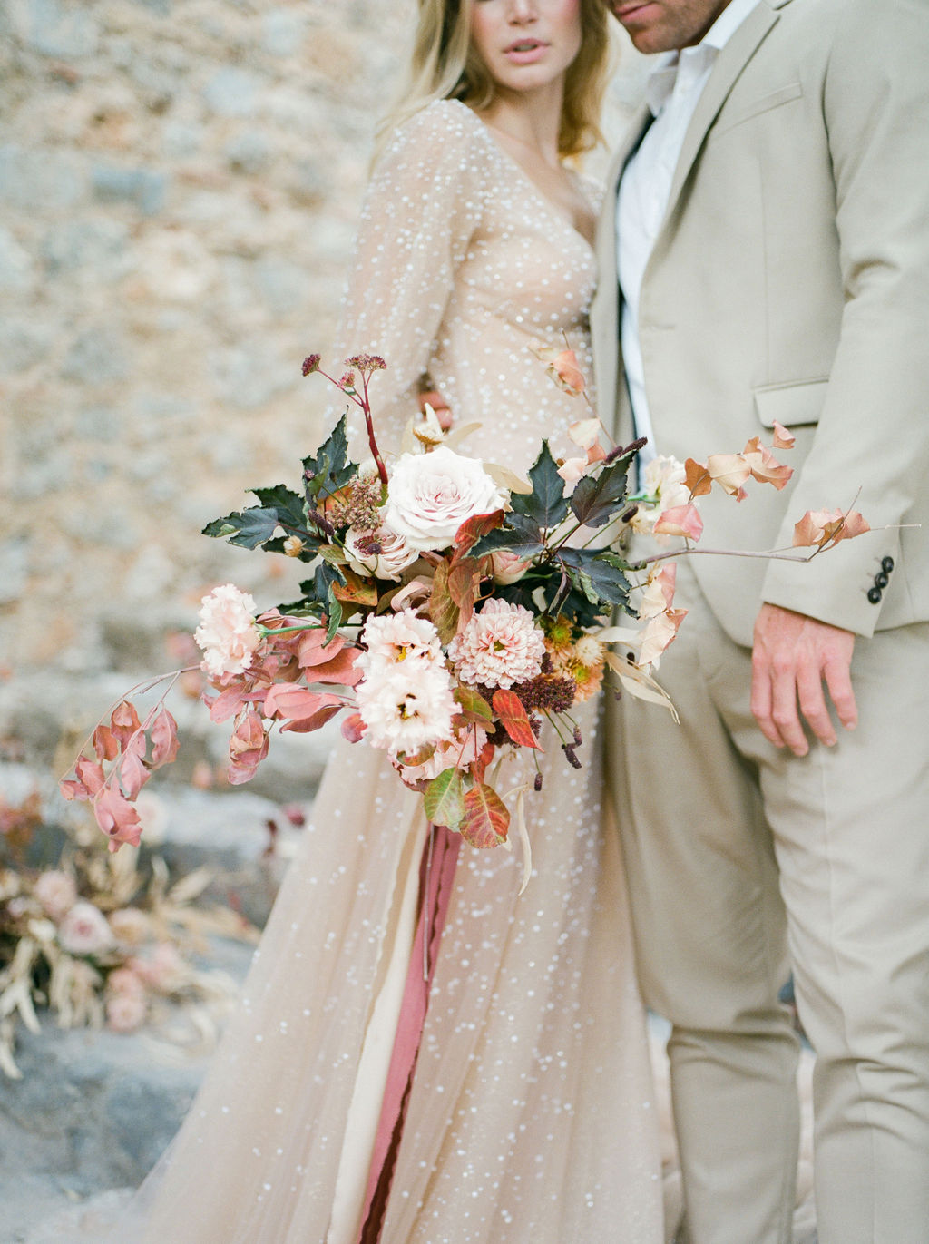 boheme elopement couple bride and groom holding eachother