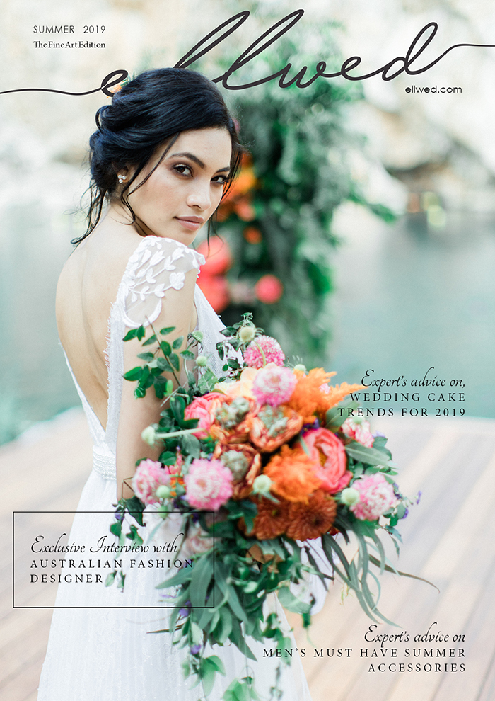 Ellwed Magazine Summer Corla Lakeside Wedding with an ethnic bride on the cover