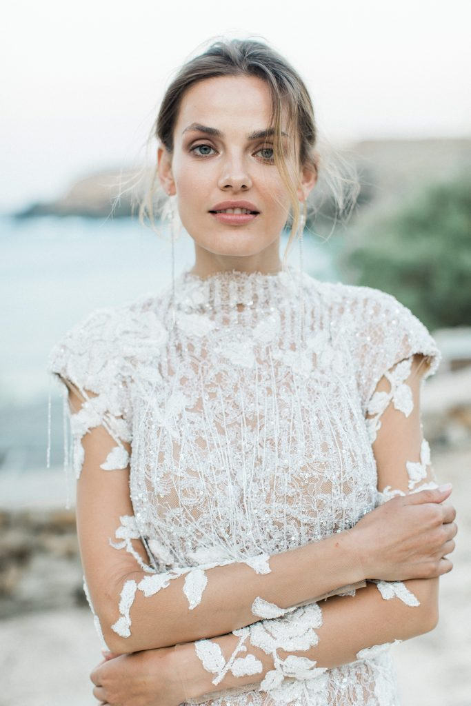 Mairi Maprola dress Love Story in Mykonos with floral sleeves