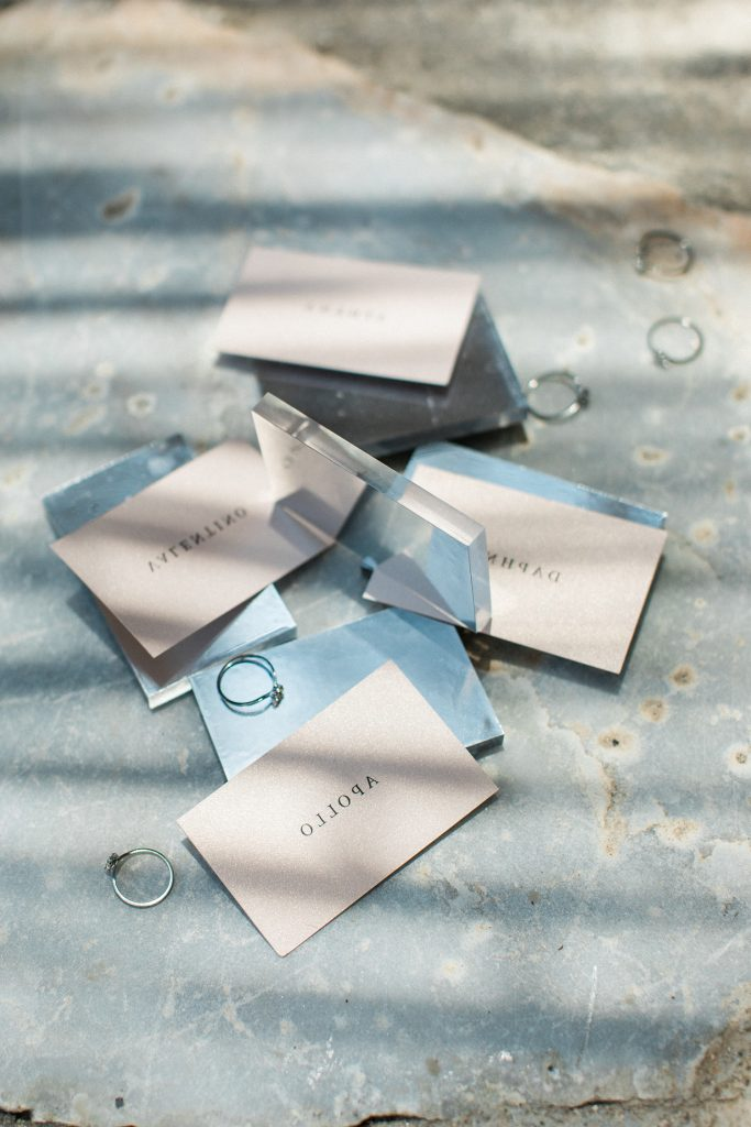 Love Story in Mykonos stationery mirror name tags