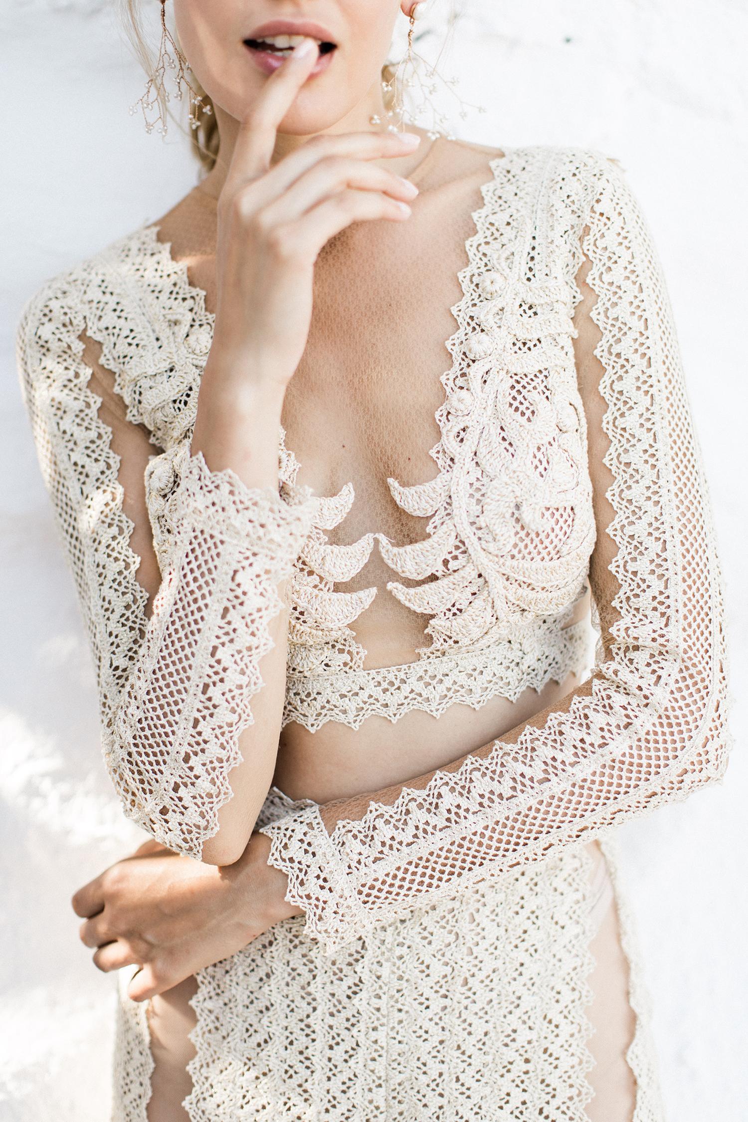 Bride in Zolotas Atelier pantsuit in Love Story in Mykonos