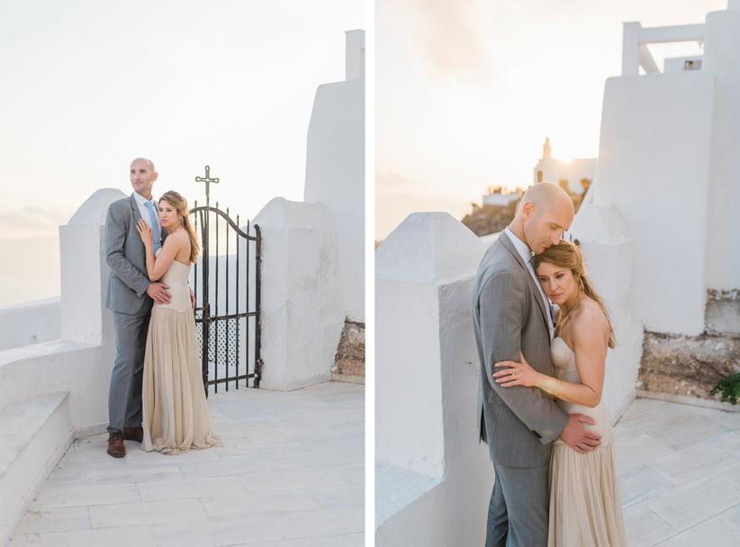 Hellenic Chic Elopement couple hugging in Santorini