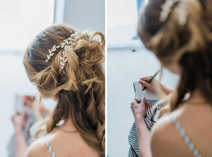 Hellenic Chic Elopement bride writing a letter