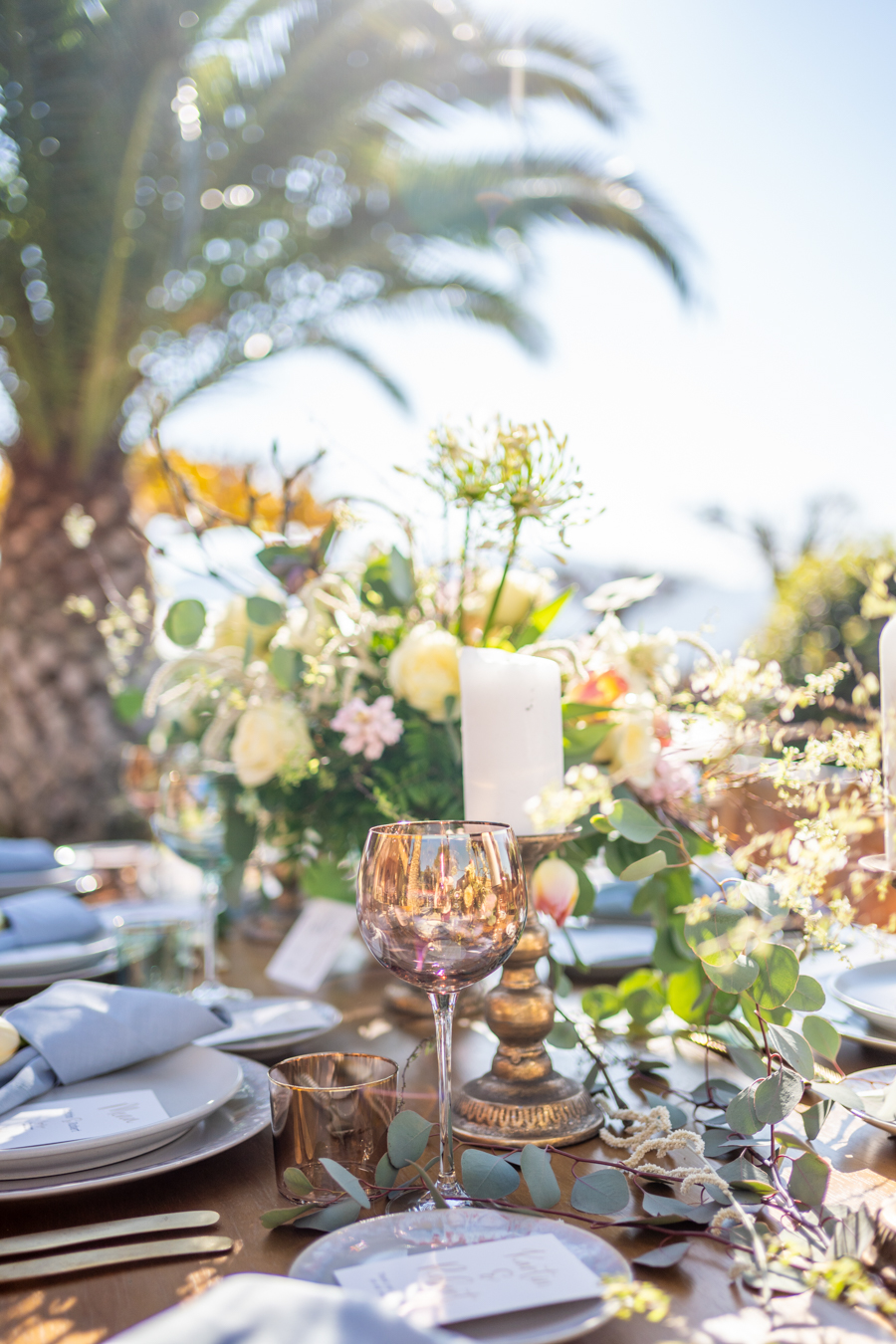 Table setup with a view of a palm at the majestic castle in Athens
