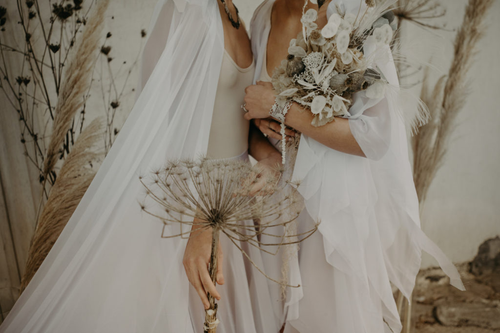 Two Brides Ethereal Wedding Inspiration getting married in Greece with Eco-conscious flowers