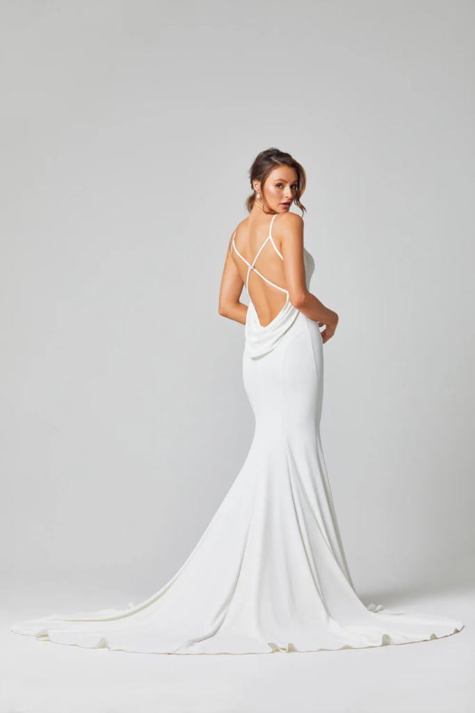 Alice stylish simple Wedding dress by Brides Only on Ellwed on a bride with open back
