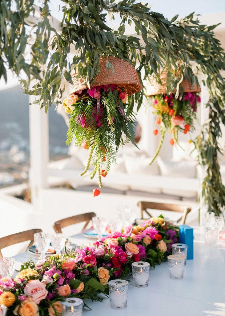 ios club Fun and colorful modern island wedding table setup
