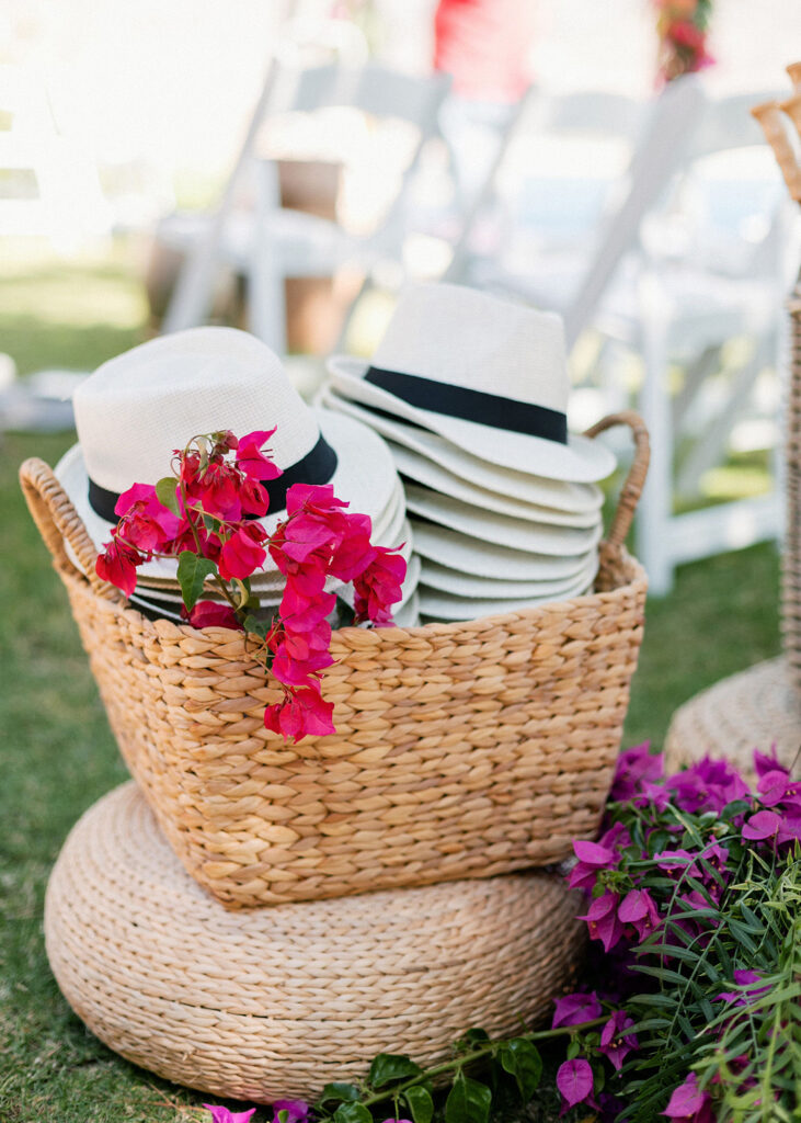 hats as favours for the Fun and colorful modern island wedding