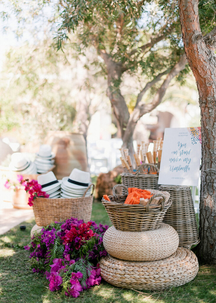 Gift favours for guests at the Fun and colorful modern island wedding