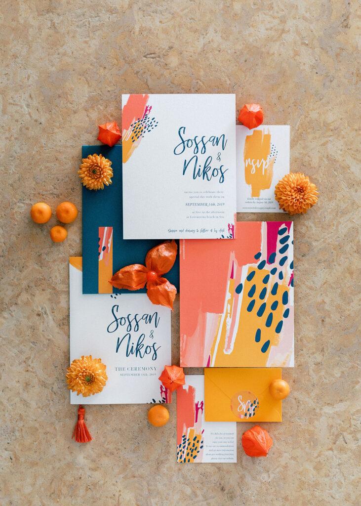 Fun and colorful modern island wedding fun stationery