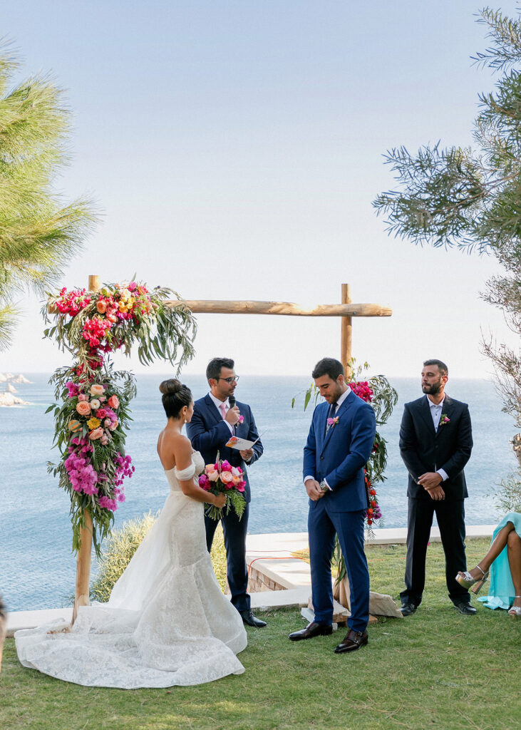 the Fun and colorful modern island wedding ceremony