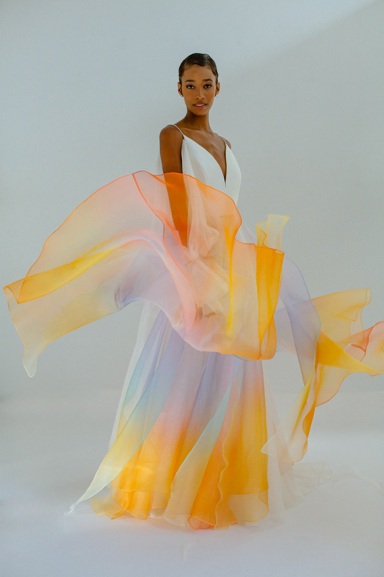 Bridal gown hand painted in hologram effect