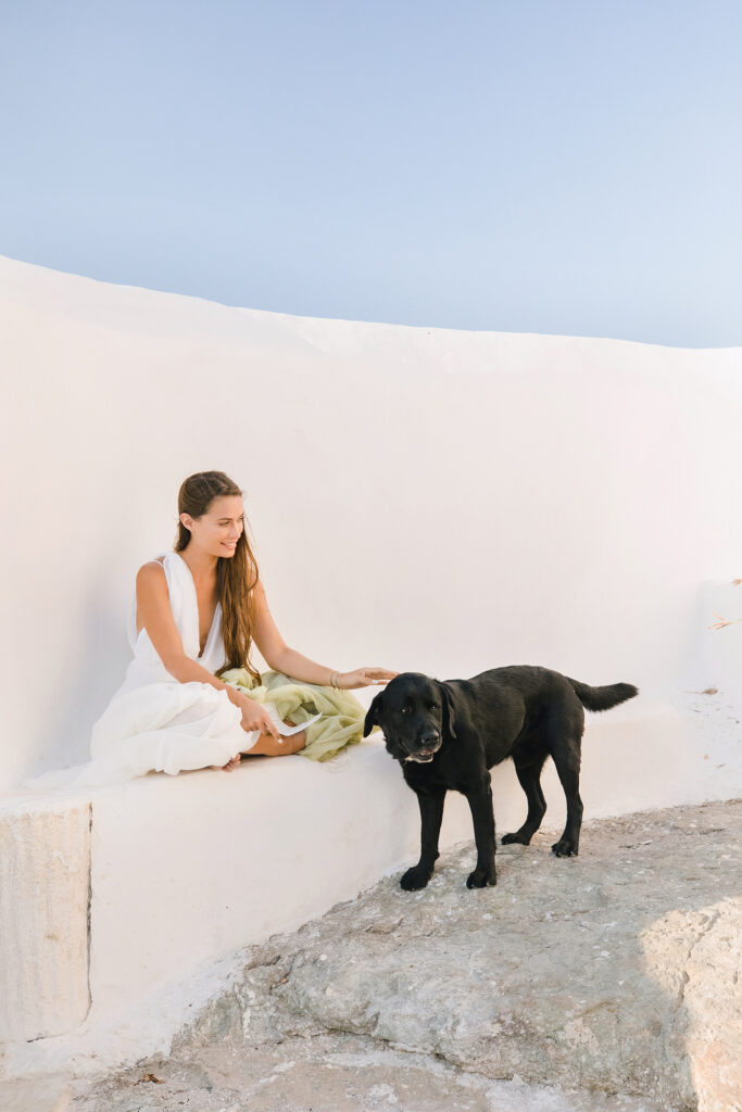 Natural Minimalist Elopement on the island of Naxos bride and her dog