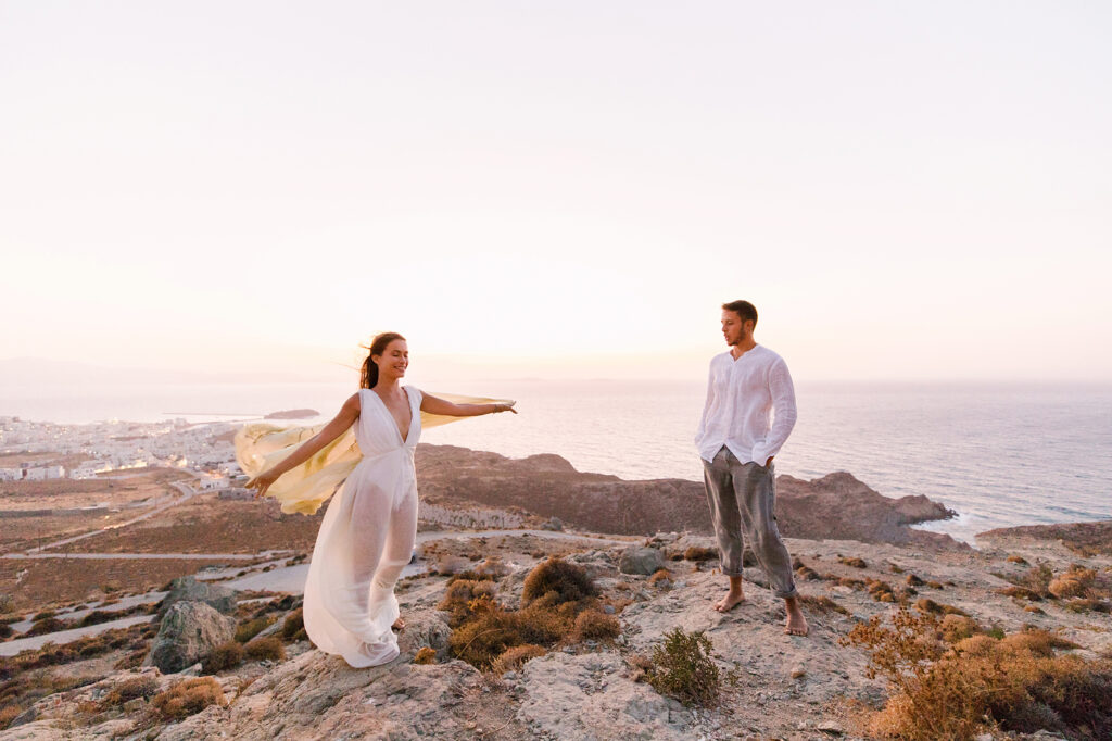 Natural Minimalist Elopement on the island of Naxos couple on the hils