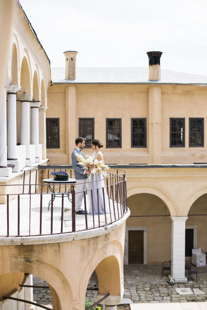 Couple on the balcony in love