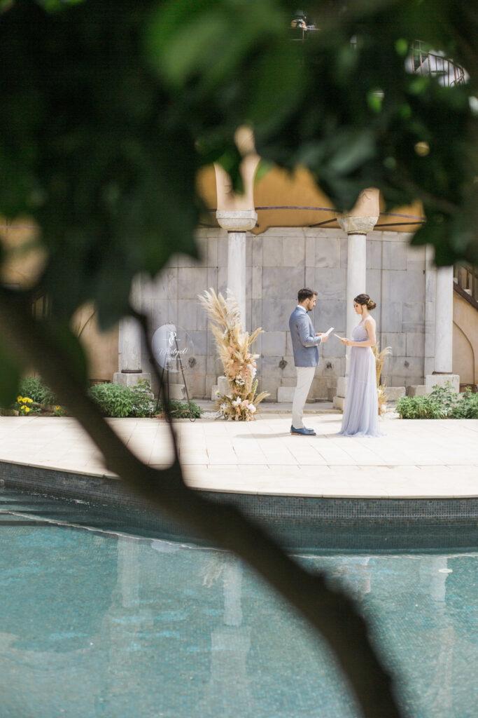 Couple getting married at the luxury elopement at the Imaret Hotel