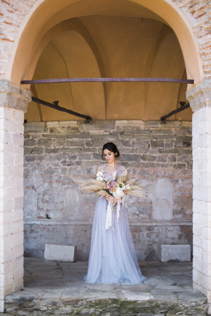 Dusty Blue and Pampas Luxury Elopement at the Historical Venue in Kavala