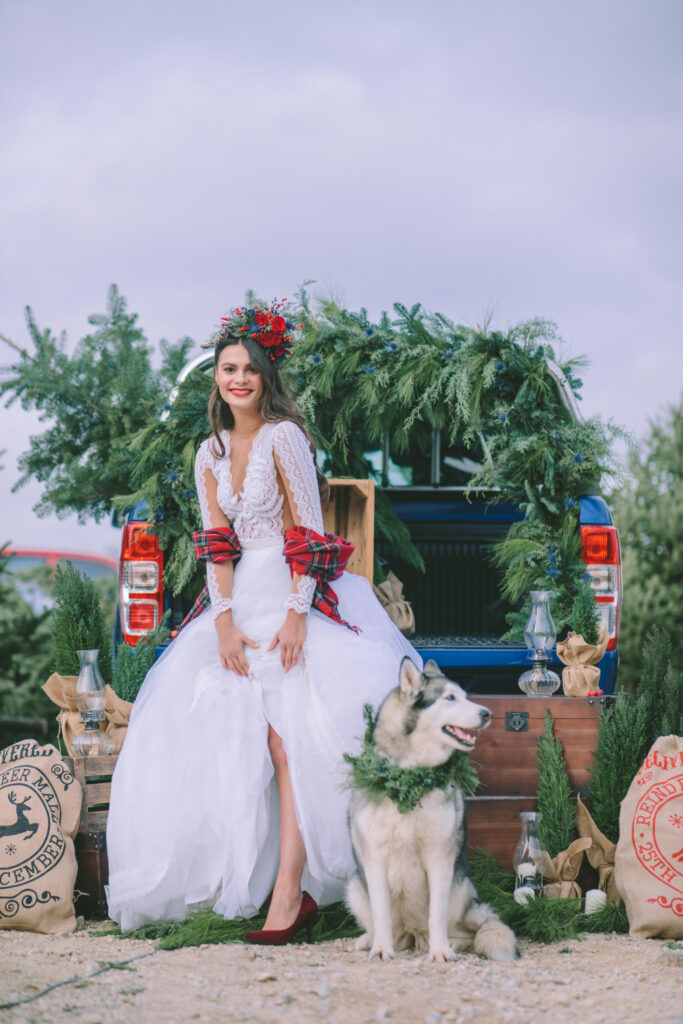 Bride with red shoes Huskey dog and pickup truck