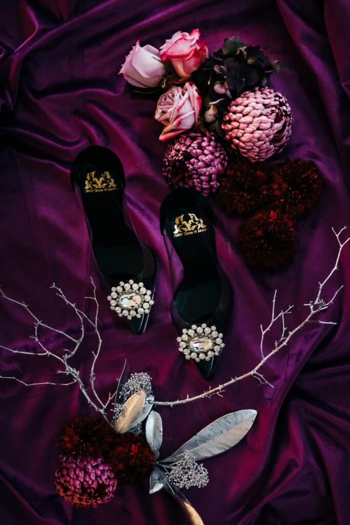 Majestic Christmas Feast black shoes