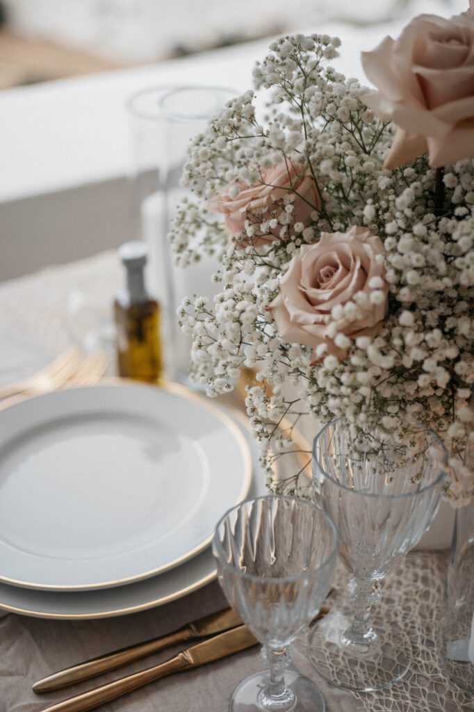 Romantic dinner with sunset table setting