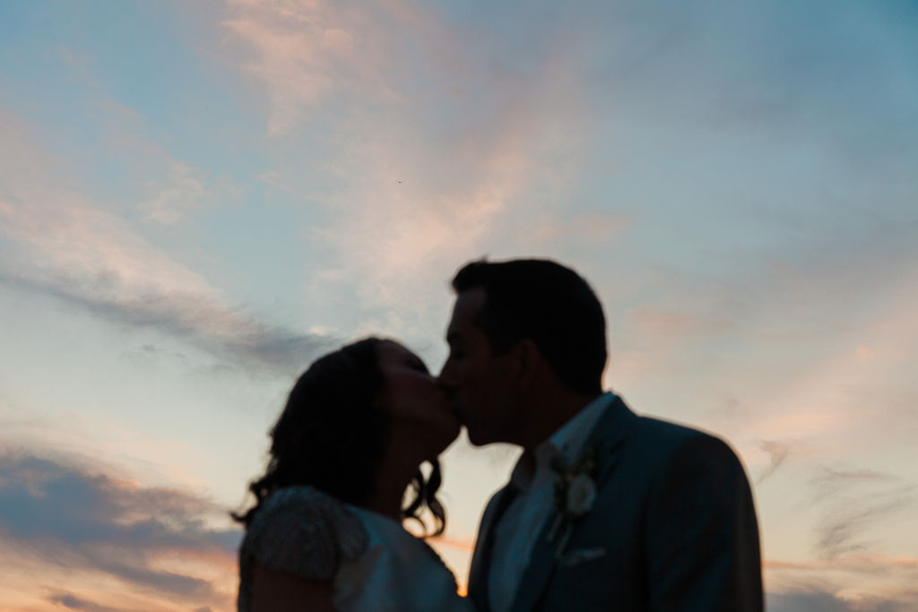 Sunset portrait of the couple