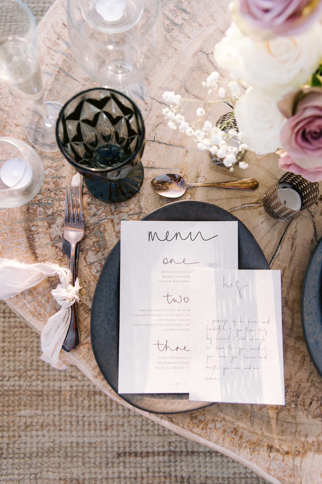 Elopement table décor with menu