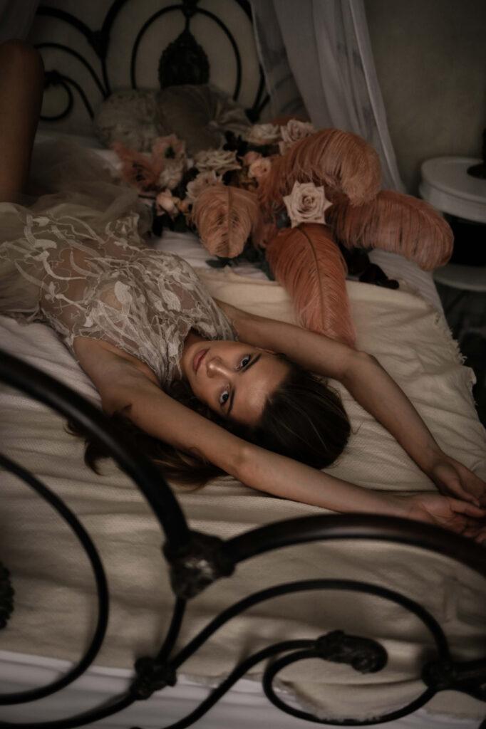 Girl sleeping on the bed