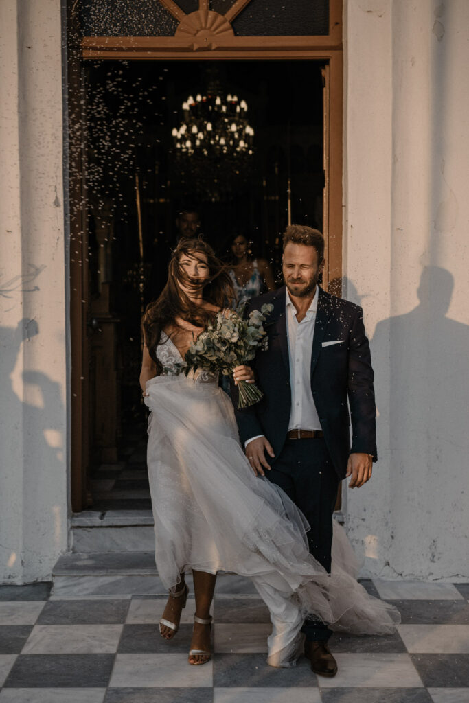 Young Just got married in Destination Wedding in Tinos