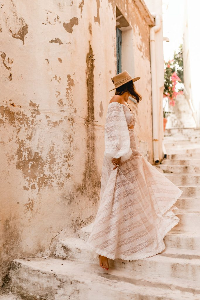 Bride walking up the streets at a destination Wedding