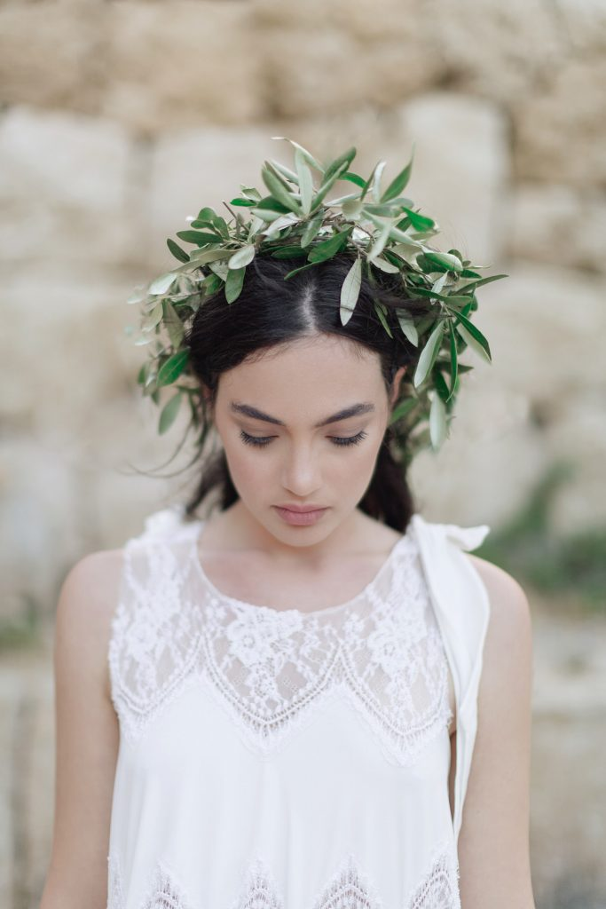 Bride with olive crown