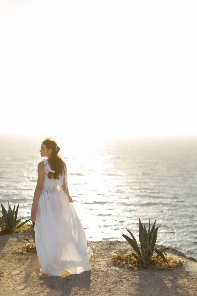 bride in the sunset