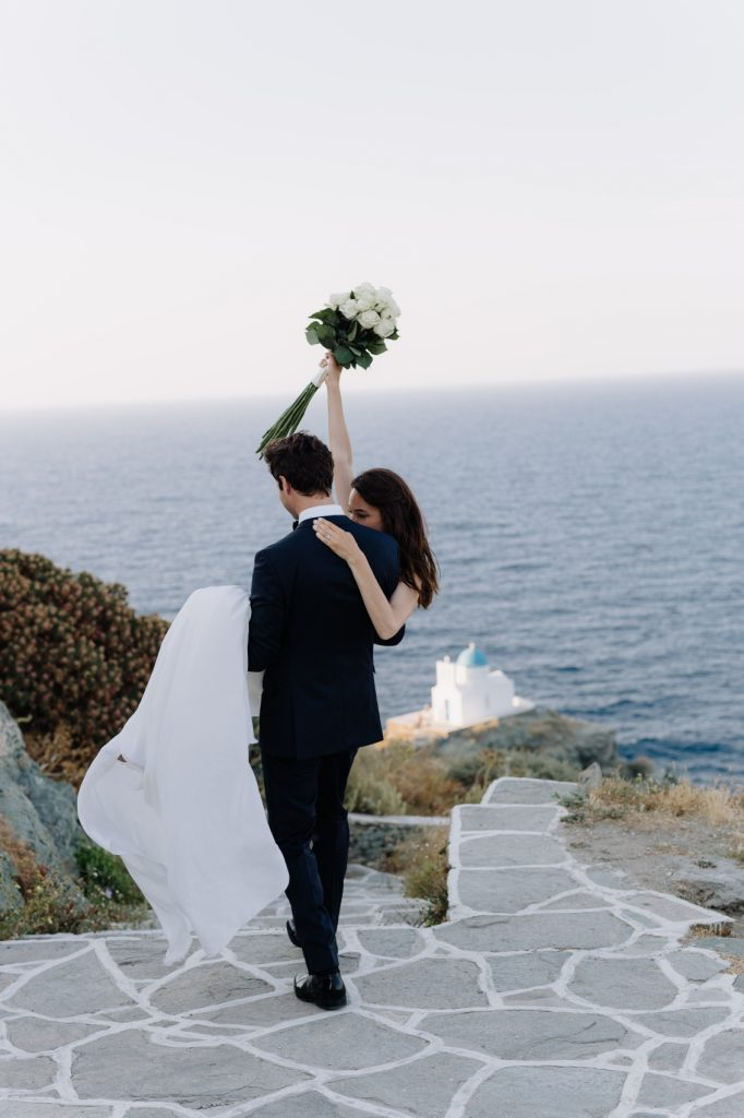 stylish eco-conscious wedding groom and bride just married