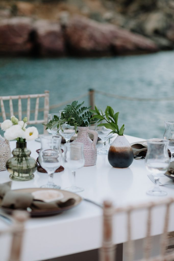 stylish eco-conscious wedding table closeup