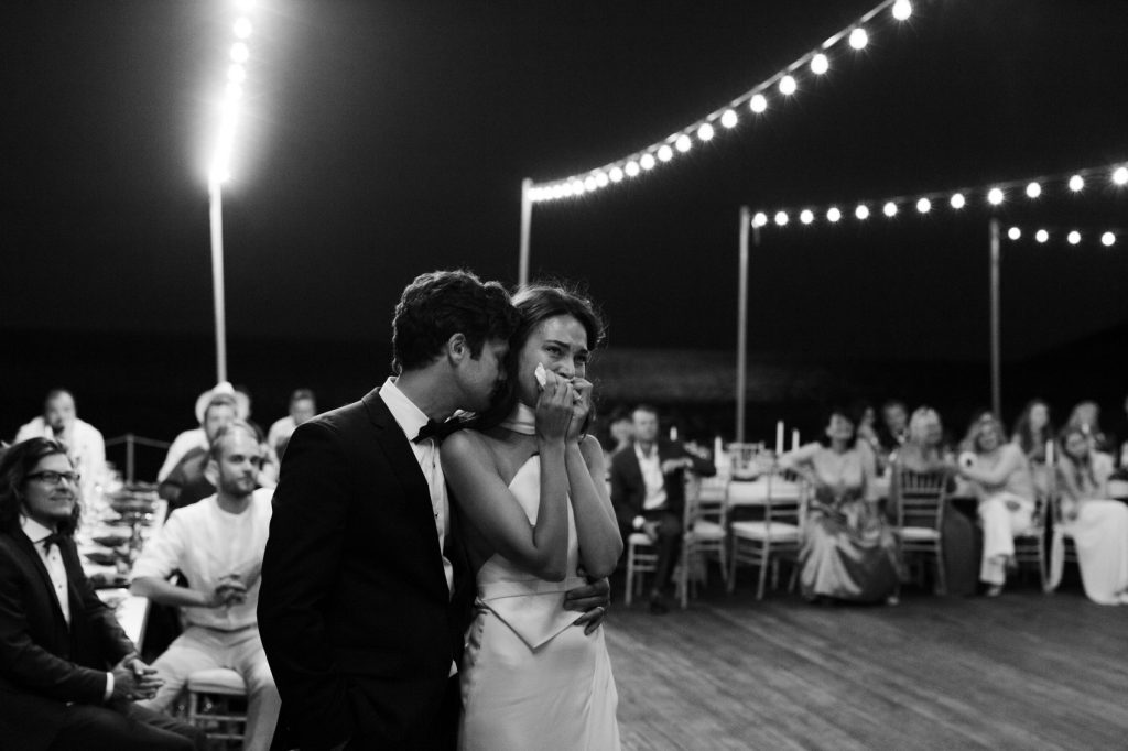stylish eco-conscious wedding couple with emotions